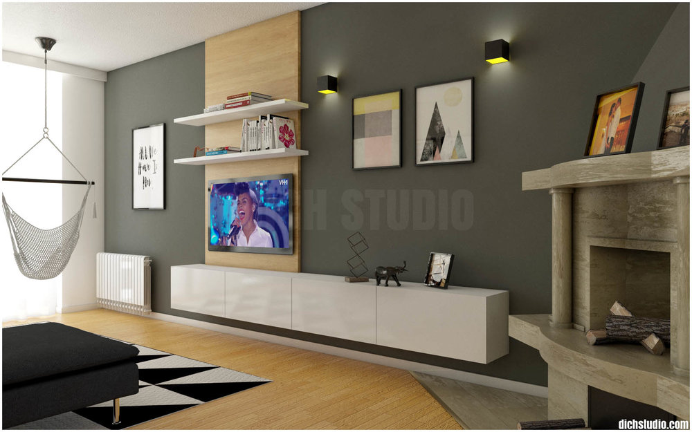 living room tv set interior design idea, Vratsa
