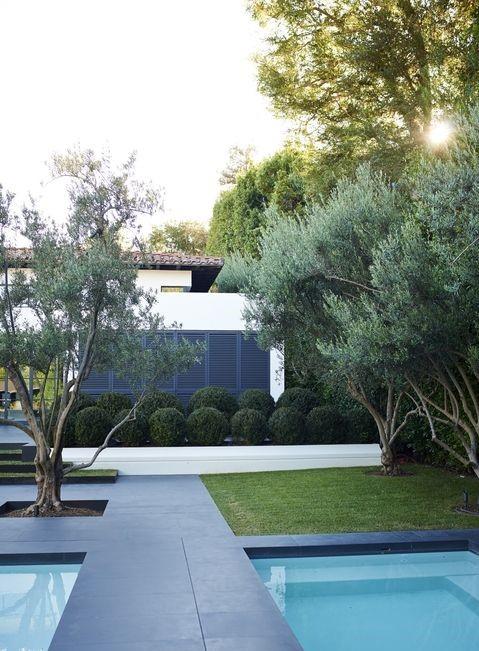 Декорация и функционалност - В този дом в Лос Анжелис многобройните басейни са използвани едновременно за декорация и забавление. Растенията около него включват маслинови дървета и жив плет от чемширени топки.