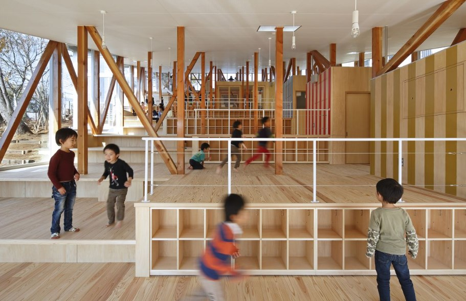 Ясла Hakusui Nuersery School, проект на Yamazaki Kentaro Design Workshop, 2014 (Чиба, Япония)