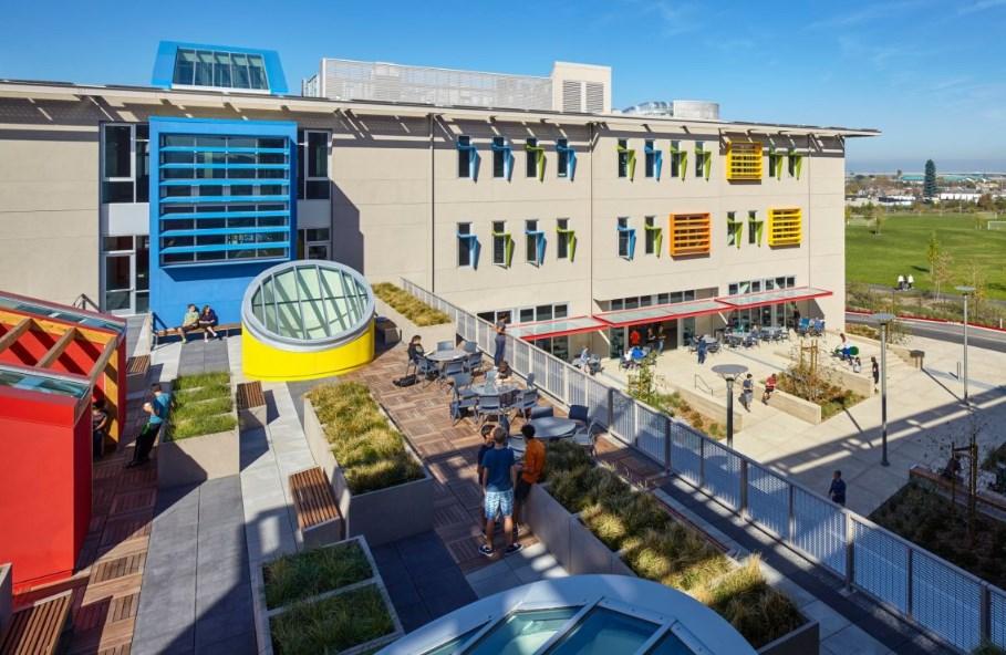 Училище Nueva в залива Мийдоус, проект на Leddy Maytum Stacy Architects, 2014 (Сан Матео, Калифорния)