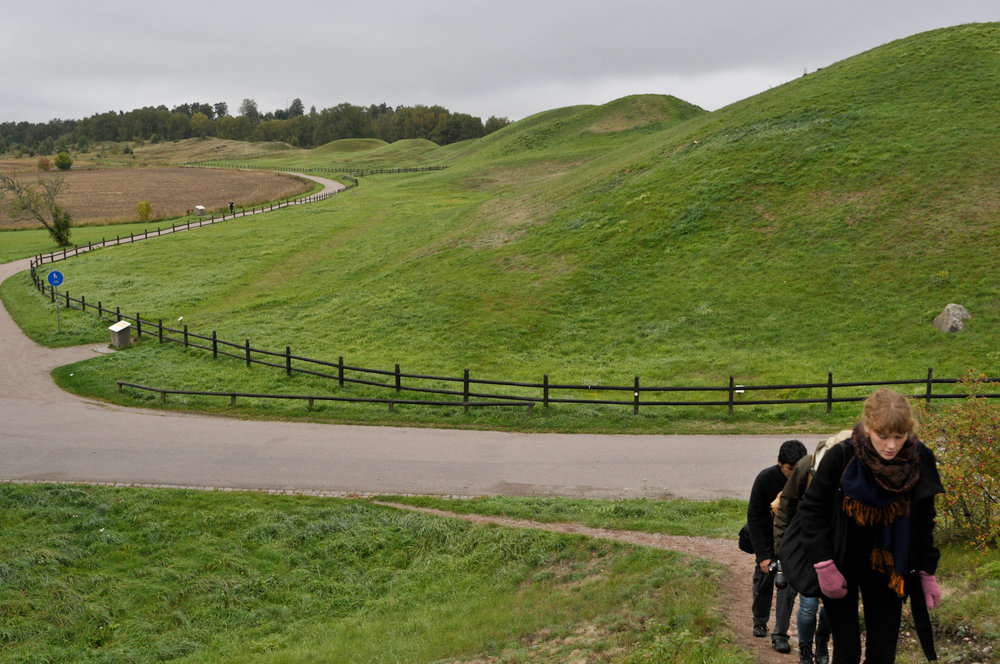 The burial mounds of Gamla Uppsala on a geography field excursion
