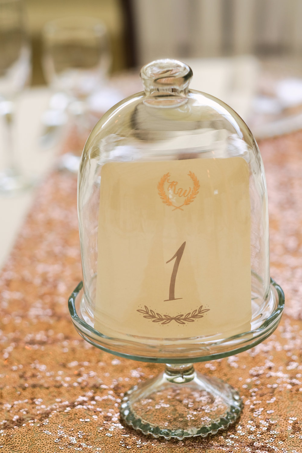 Glass dome table number