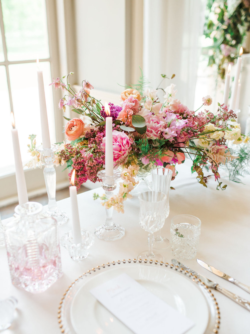 Full glass place setting