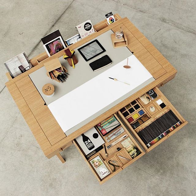Portuguese pencil maker Viarco joined forces with multidisciplinary studio Digitalab on a work area intended for illustration, portraying, and painting. Other than being stuffed with capacity, the Risko Drawing Desk houses a move of paper that you can end up as you use it, offering a lot of room to be innovative. The cutting edge work area is built out of oak wood with an extensive work surface for most masterful undertakings. Along the back of the work area is a channel of removable boxes to store pencils and paint brushes, and some other craftsmanship supplies you may have. You can likewise utilize it prop your tablet or a book up.