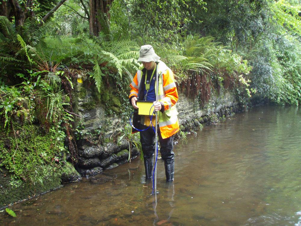 Low flow river velocity survey.JPG