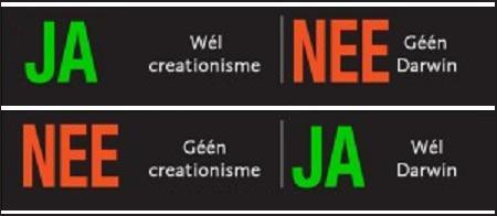 Brievenbussticker voor de creationist en voor de darwinist.