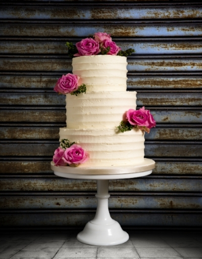 Buttercream wedding cake from our cake kitchen in Cheltenham