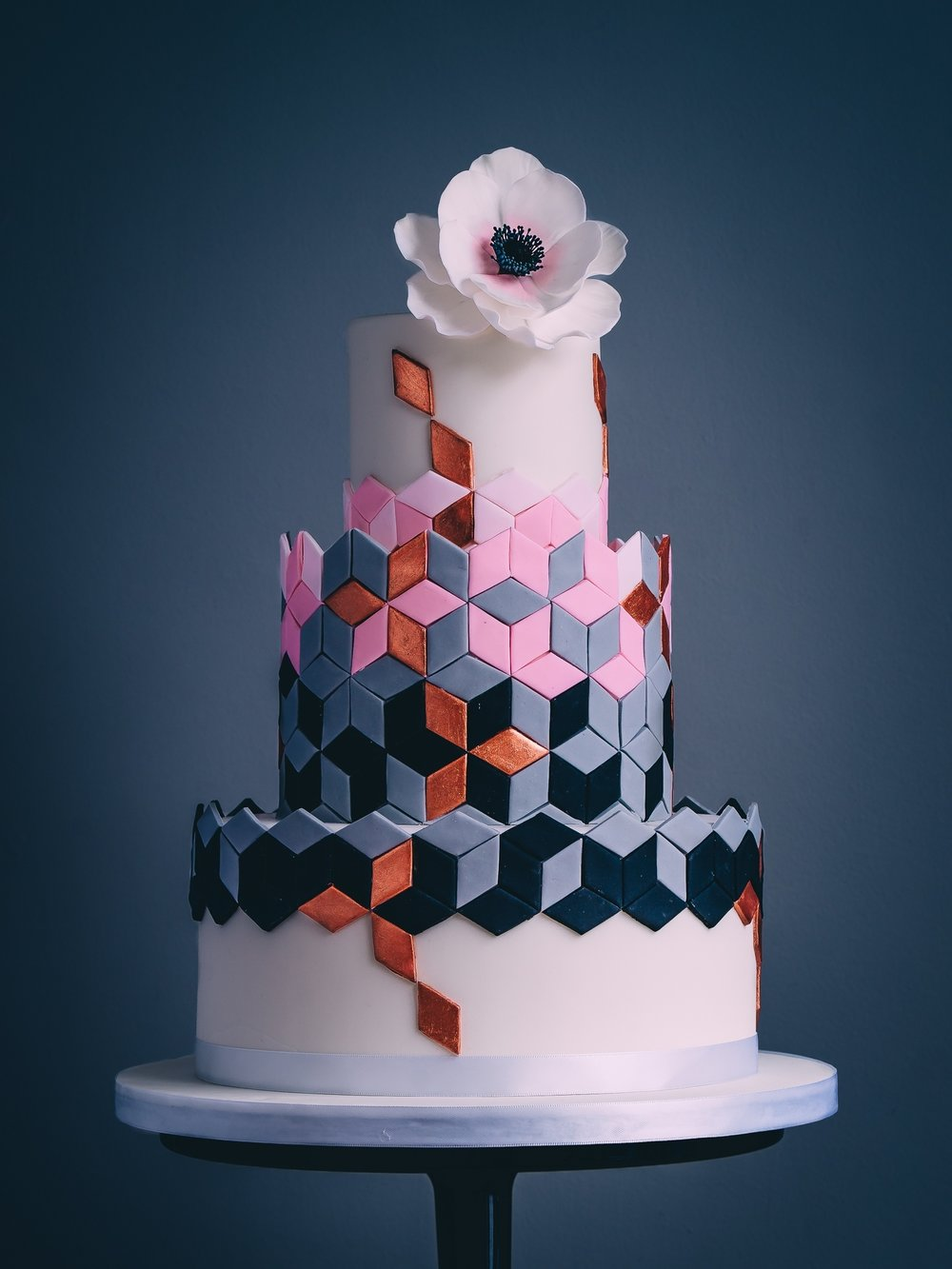 Our new geometric design wedding cake from our cake kitchen in Cheltenham in the Cotswolds.