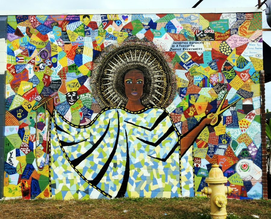 "Danielle Henn, ""The Patchwork Goddess of Diversity,"" Community Wall, Salty Fox, 602 W Eau Gallie Blvd, west facing wall on Guava"