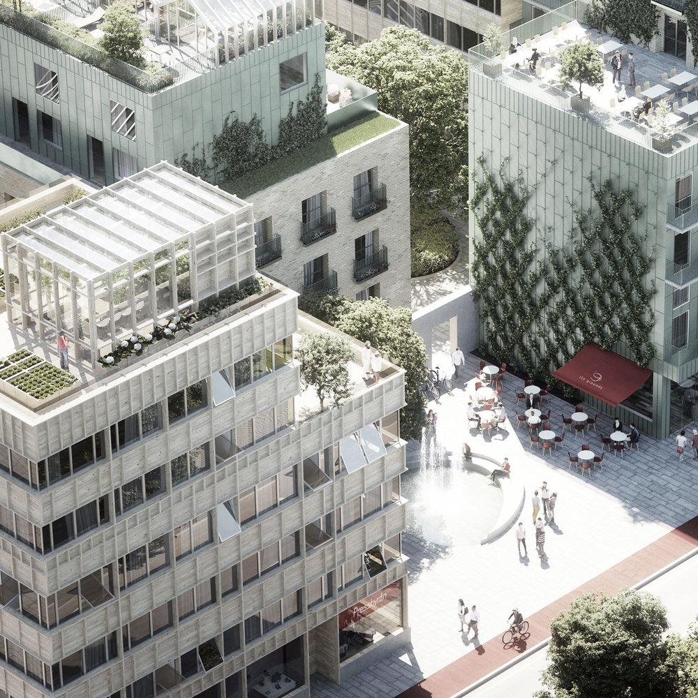 Slakthuset  - Vinst i markanvisningstävling, kvarter med 130 bostäder i Slakthusområdet. Beställare är Svenska Hem.