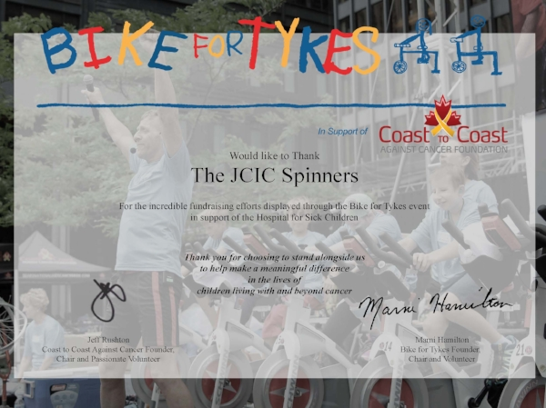 "JCIC completed the Bikes for Tykes challenge on June 16th, with our employees coming together to raise $4,018.75 for children's cancer research  We thank our""spinners"" Cam, Steve, Doug, Renata, Tina, Michelle, and Michael for their time, our donors and our whole team for their generosity and support throughout the day!"