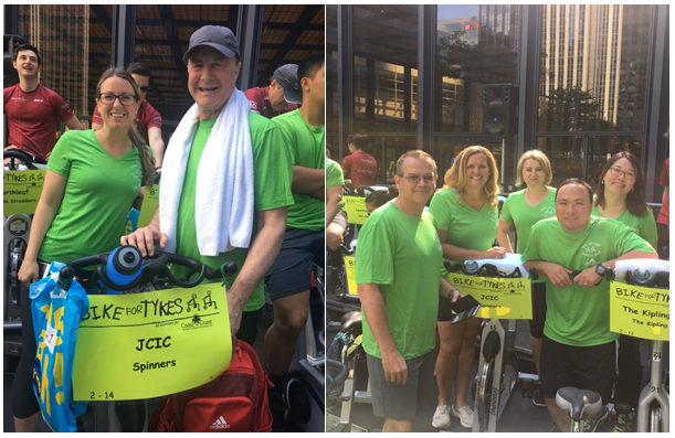 """On June 21st, JCIC participated in the Bike for Tykes fundraising event to help improve the lives of children with cancer at Sick Kids Hospital. We would like to thank our """"spinners"""" Michelle, Renata, Tina, Steve, Laura, Kai and Andrew for their time, as well as our whole JCIC team for coming together and raising money for such an incredible cause!"""