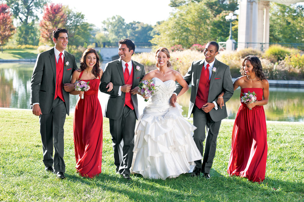 Roberts-Tux-Shop-Wedding pic-Grey tux Red vest.jpg