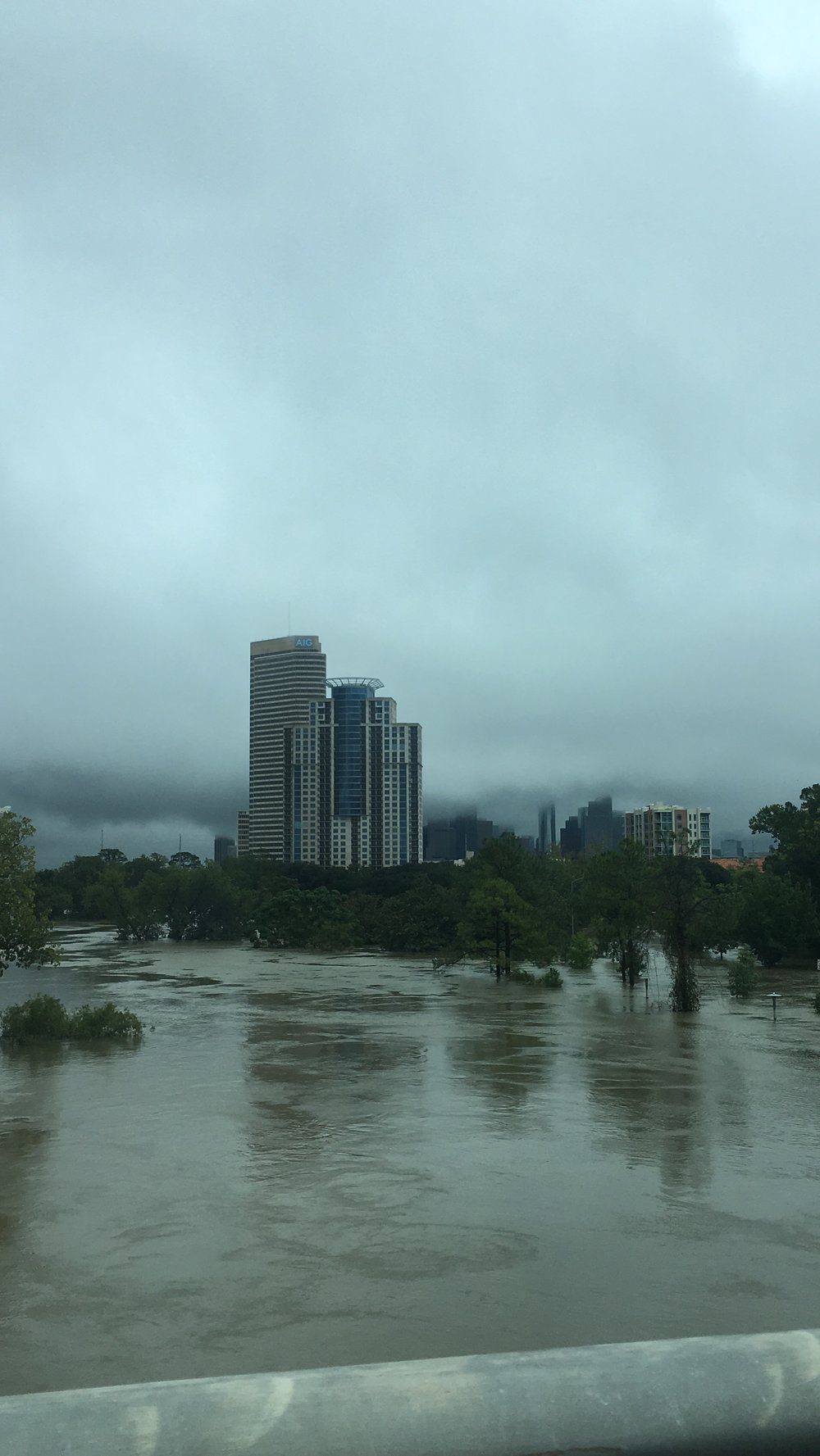 And here's a look toward downtown. That's Buffalo Bayou up out of its banks and covering two major roads. We live near a bayou. Houston is a marsh. We're used to flooding. This was bizarre.