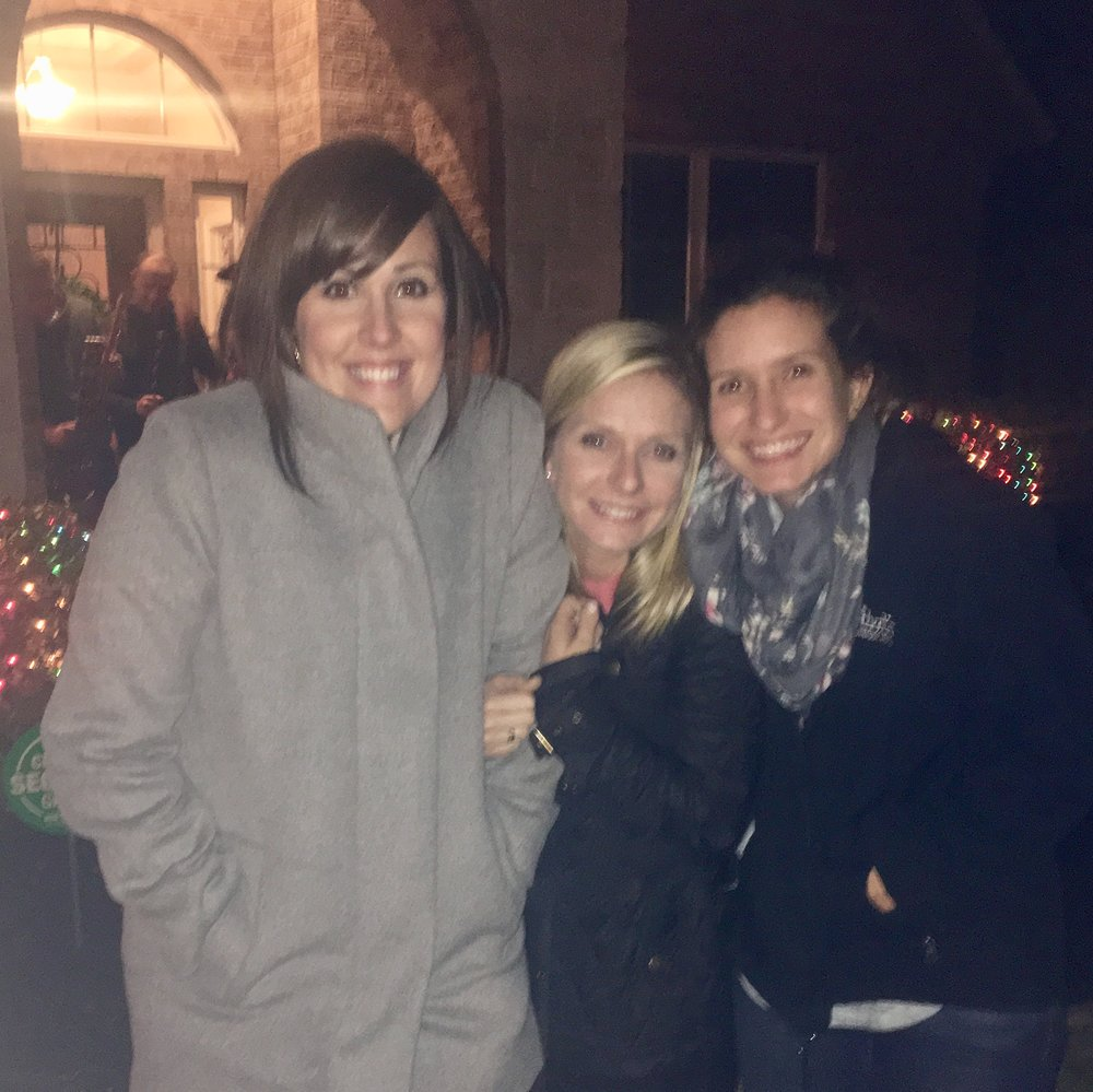 Here's a blurry pic of the roomies and me freezing cold while watching neighborhood fireworks on our perfectly-non-defiantly-different New Years' Eve!