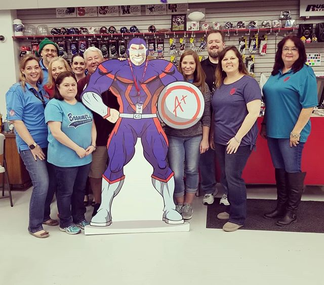 We would like to give a big thanks to KISD Technology center for bringing your business to Brammer's Athletic Wearhouse! Getting to meet Captain SafeData made our day! • #brammers #brammersathleticwearhouse #brammersathletic #brammerskaty #screenprinting #screenprint #embroidery #heatpress #heatpressvinyl #vinyl #cadcut #athleticwear #sportsequipment
