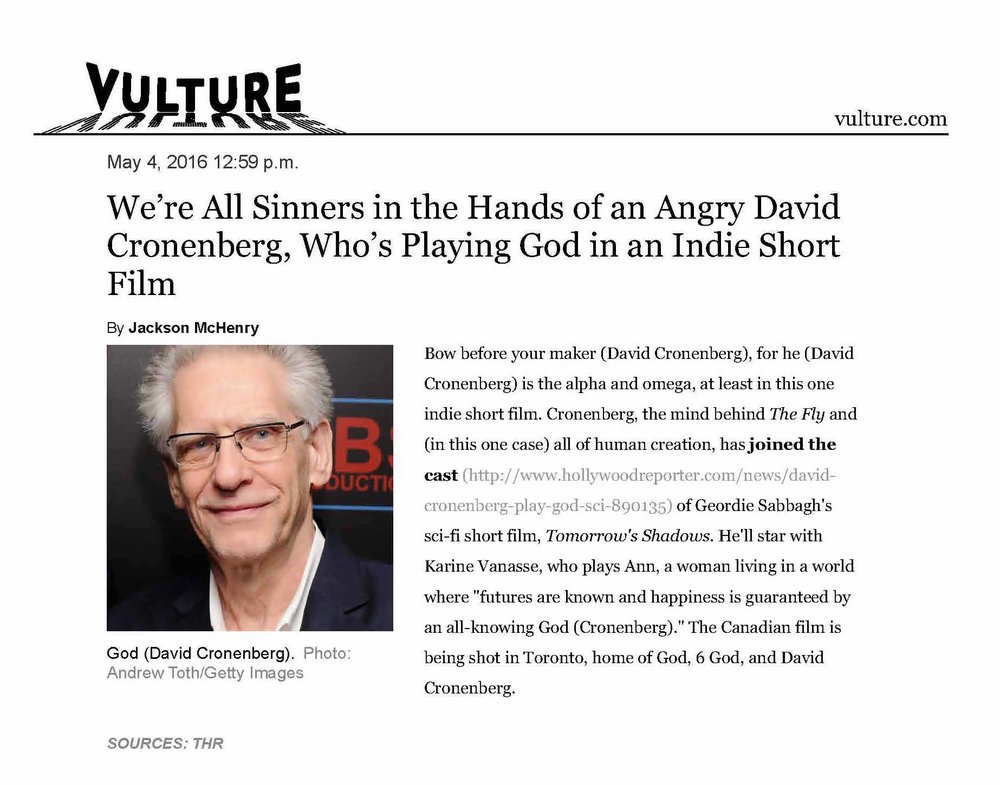 David Cronenberg to Play God in Indie Flim -- Vulture.jpg