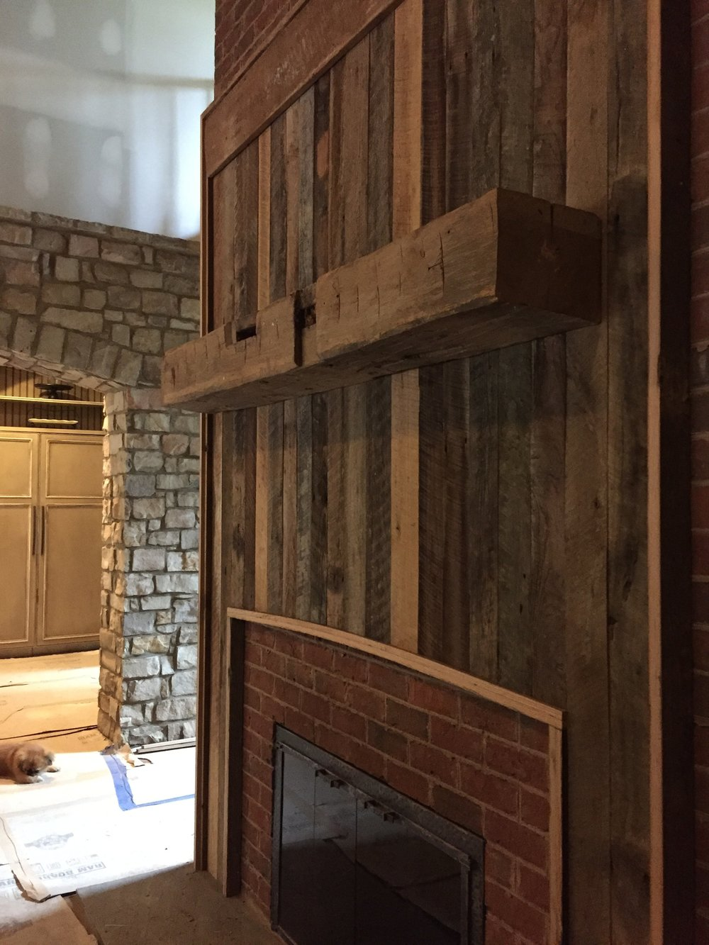 surround wood ideas fireplace designs barn reclaimed board design round electric barnwood