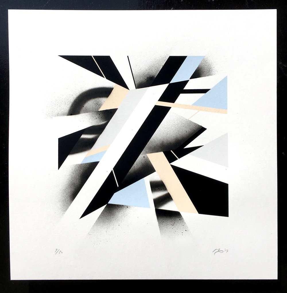 Mark McClure's geometric masterpieces range from 3D sculptures, to screen prints, to street art. He works at the junction point of art, design and making the cool stuff you want to make. This year our favourite has been the hand finished screen print 'Surface Tension' ( https://goo.gl/SF1KxH ). Mark's exceptionally delicate colour palette and sumptuous hand finishing with spray paint is immensely satisfying. Next year we hope to get him in to bring his magic to the walls of one of our venues.  (follow Mark on instagram @markmcclure)