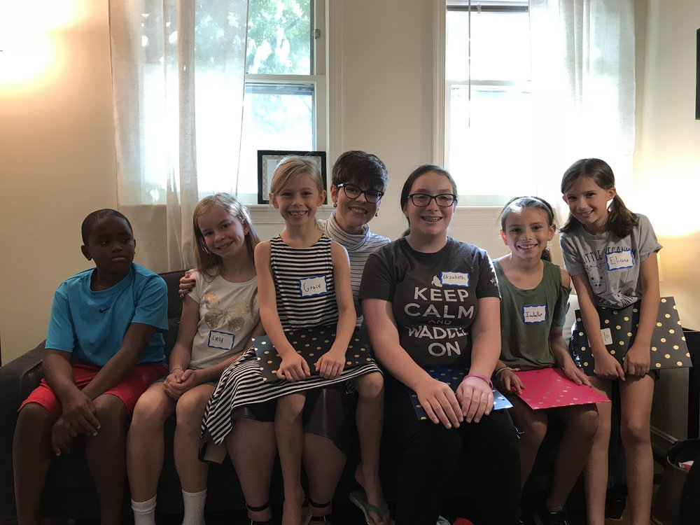 students with blue feather music in washington d.c.