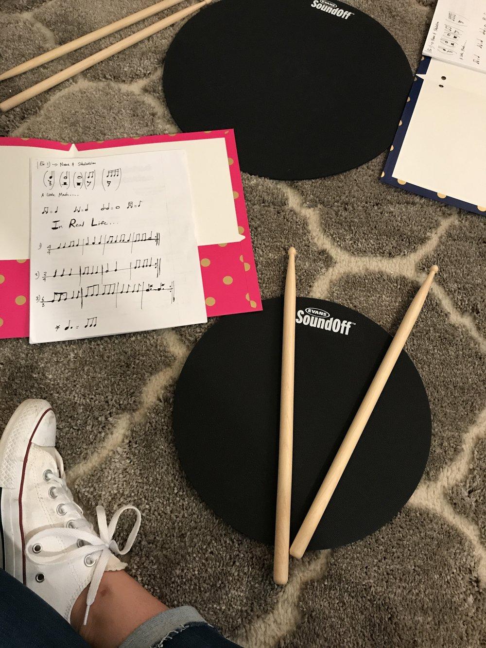 student drum practice pad blue feather music washington d.c.