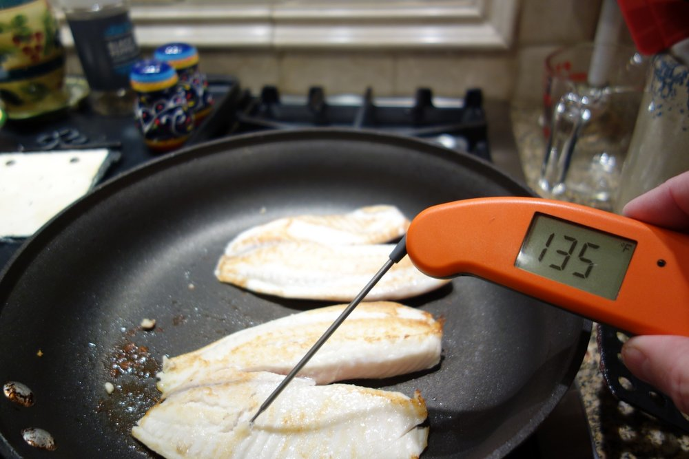It's so easy to overcook fish. The digital thermometer is a huge help.
