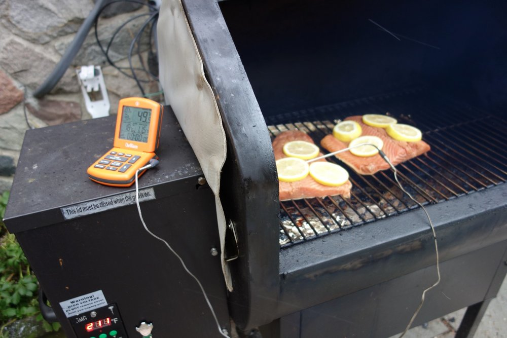 I didn't want to open the smoker lid and cause a stall mid-cook, so I made sure to hook up my cooking alarm so I could monitor the fish temperature from afar.