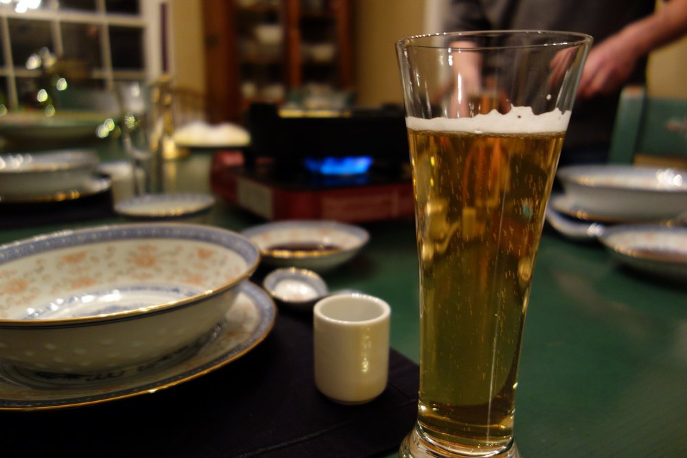 A good Japanese beer goes well with Shabu Shabu.