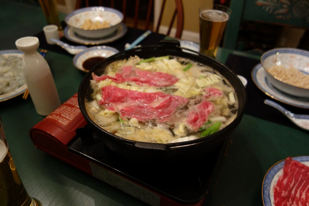 Everyone can have their own piece of meat cooking at the same time. There is occasional confusion over whose is whose, usually accompanied by chopstick swordfights and more beer.