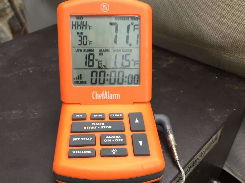 With a probe inserted into whatever I'm grilling or smoking. I know exactly what temperature my food is at. Also, an alarm goes off if the temperature reaches a pre-set number.