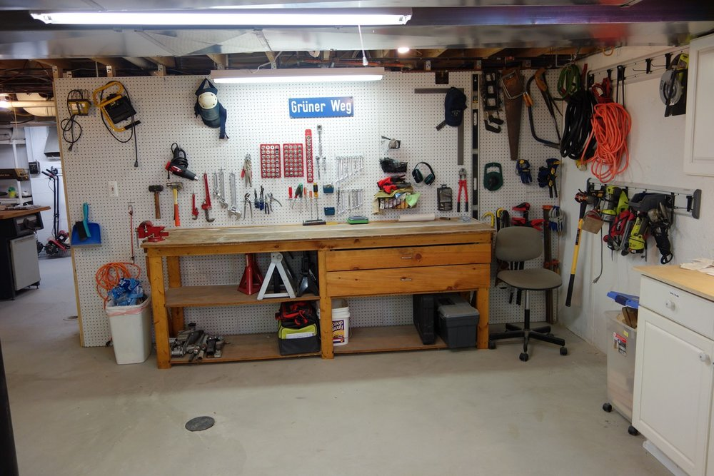 AFTER: What used to be a negative is now a positive - all of my favorite tools within easy reach, above and around my workbench.