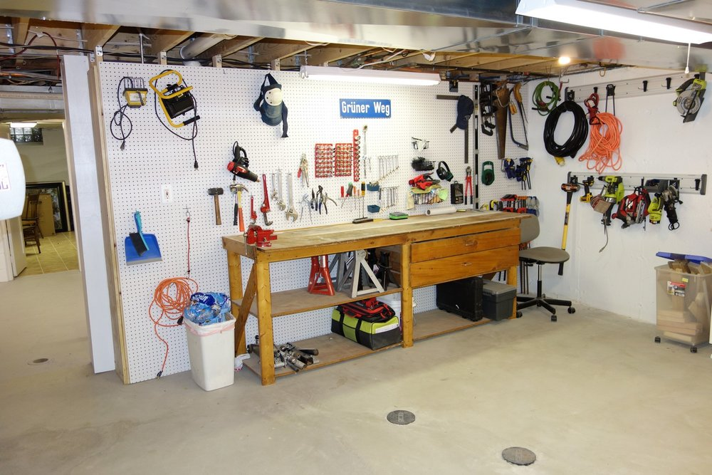 Some Gladiator GearTrack on the wall to the right puts my most popular power tools within reach.