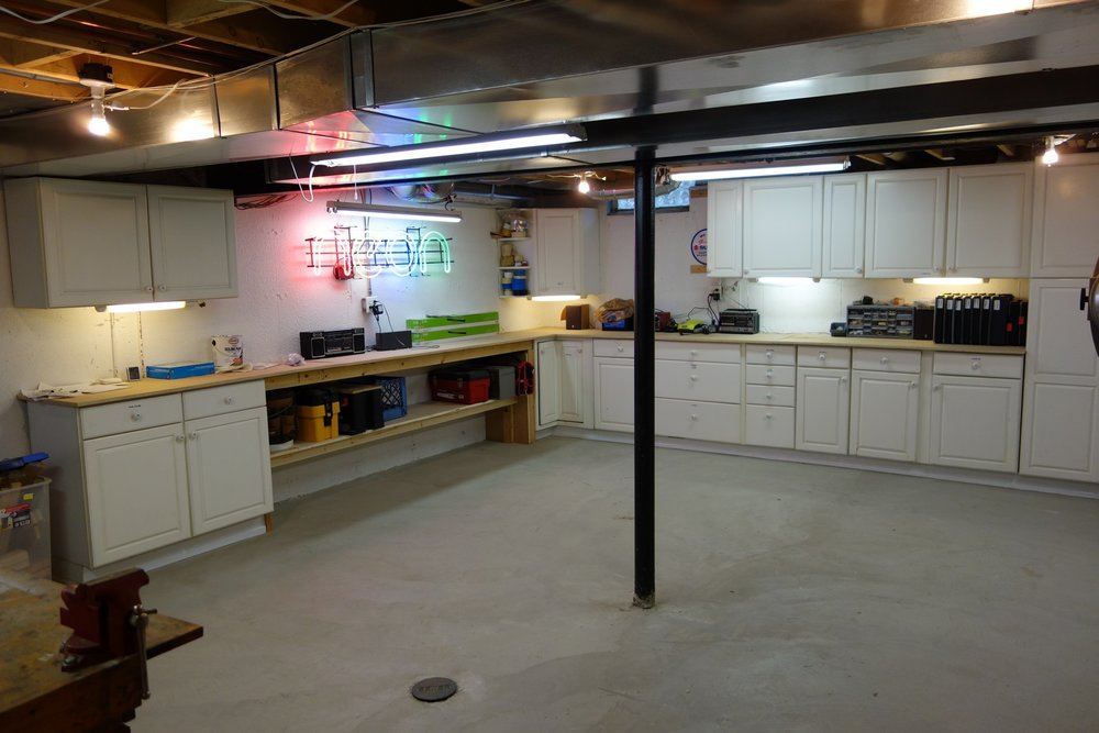 Here's the rest of my workshop. It's reasonably nice for an unfinished basement, so the unfinished wall was a real eyesore by comparison.