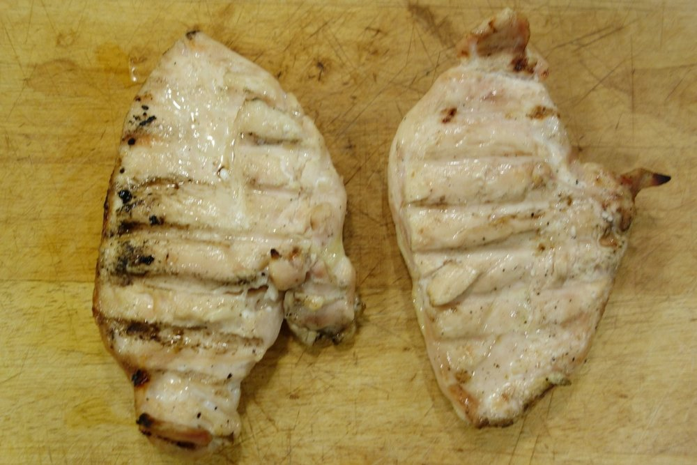 Bottom line: The wet-brined breast on the left was plumper, juicier, and overall more pleasing than the dry-brined breast on the right.  If it's any consolation, the dry-brined breast is still a lot juicier than a non-brined breast, and is super easy for those times when you don't feel up to wet-brining.