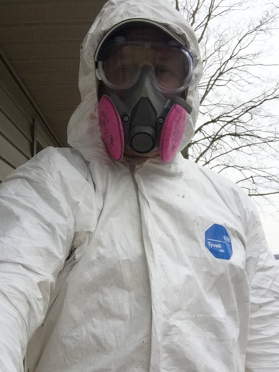 Full body suit, respirator, goggles, and gloves are available at most hardware stores.  Does my hair look OK?