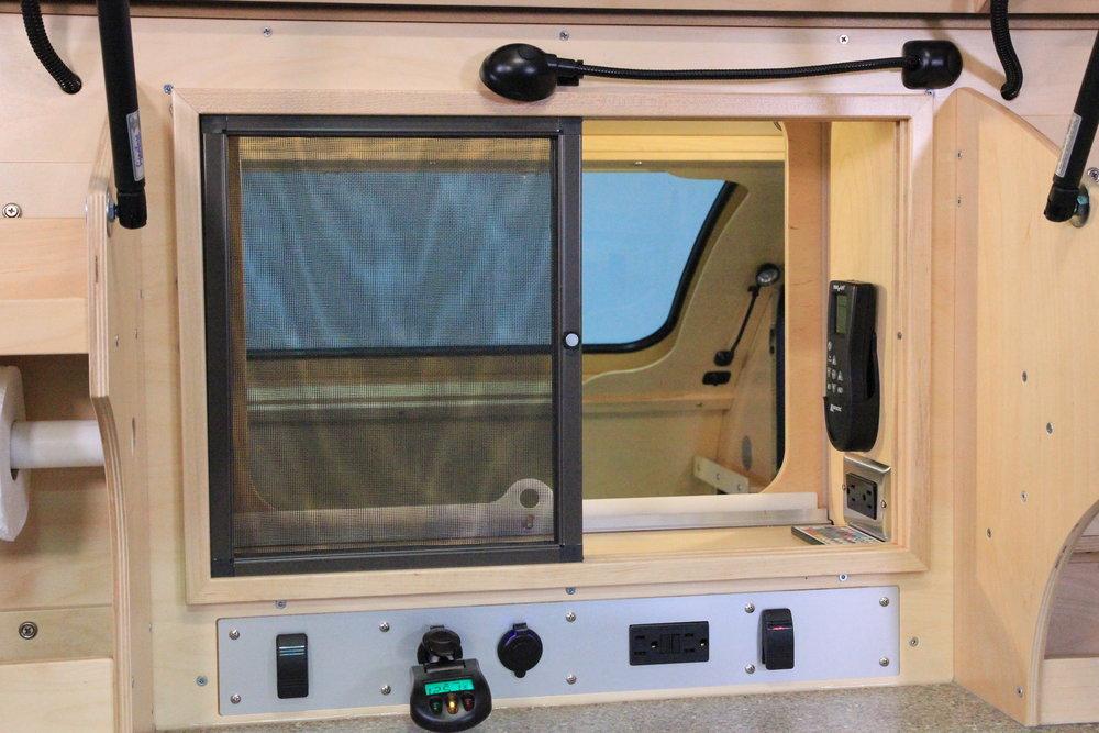 Vistabule teardrop trailer 12 Volt & 110 Volt Galley & Pass through outlets.JPG