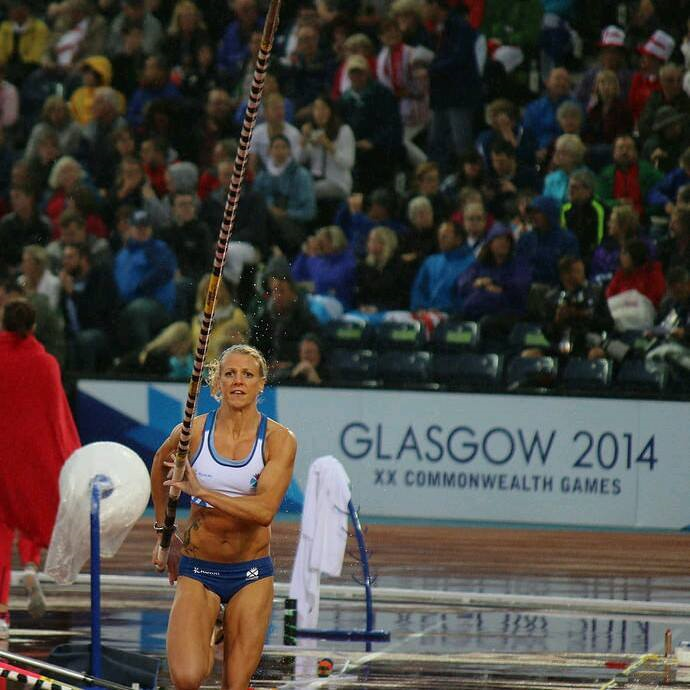 Vautiing at the Glasgow commonwealth games in the pouring rain!