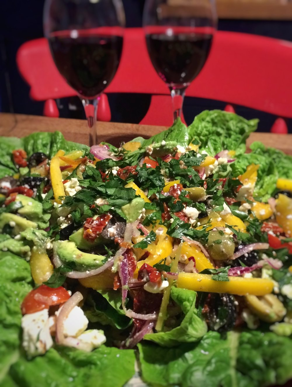 Greek salad, my favourite accompaniment to an occasional steak.