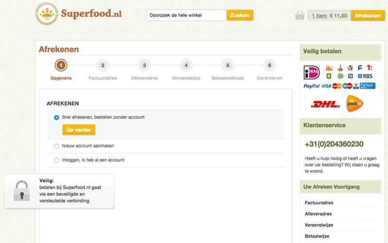Online persuasion van Conversify bij Superfood.nl