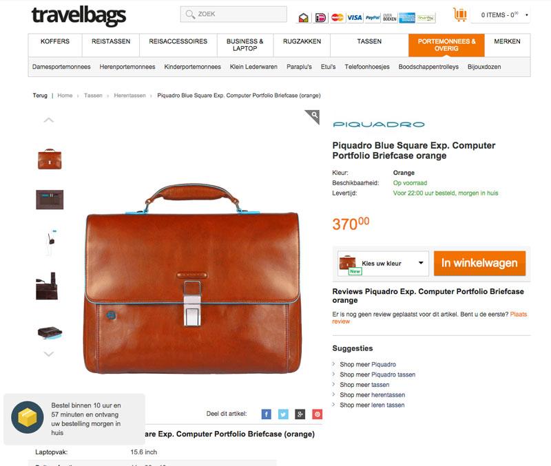 Online persuasion van Conversify bij Travelbags.nl