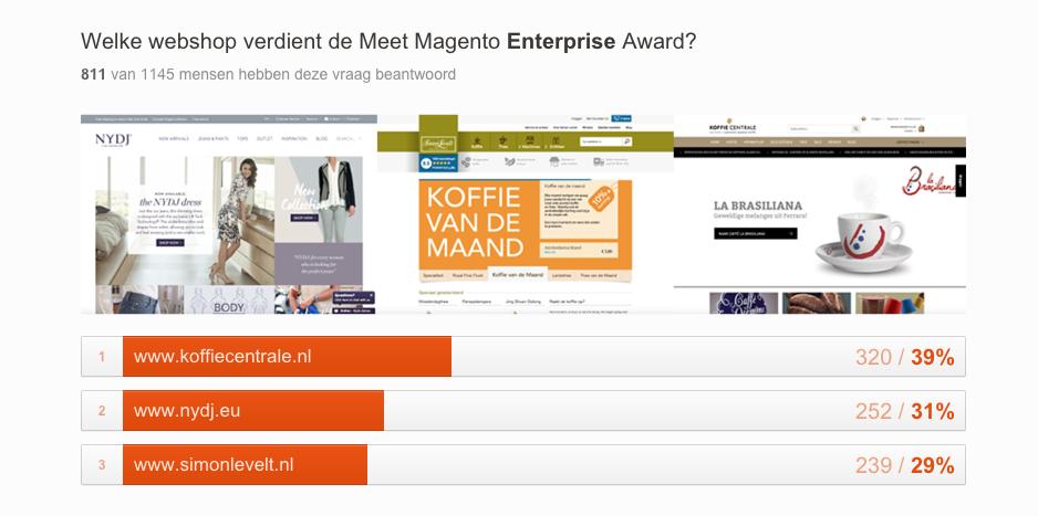 """Resultaten van de genomineerden webshops in de categorie """"Beste Magento Enterprise webwinkel"""""""