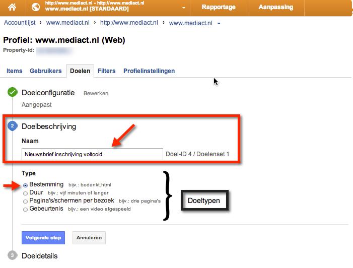 Google Analytics Doelbeschrijving