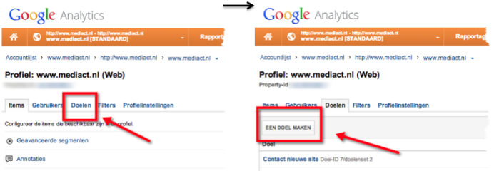 Google Analytics Doel aanmaken