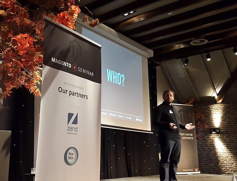 De presentatie van Ben Marks tijdens de vorige editie van het Magento 2 Seminar