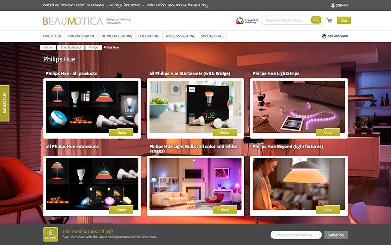 De Engelstalige webwinkel van Beaumotica draait volledig op Magento 2.0