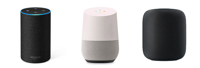 Amazon Echo, Google Home en Apple Homepod