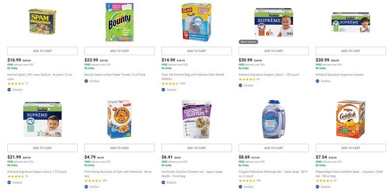 Google Shopping - aanbiedingen van Costco, rechtstreeks via Google te bestellen.