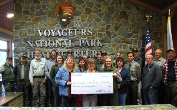 park staff accepting landmark grant