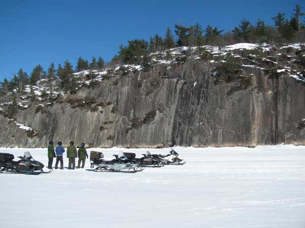 Winter-Trail-Report_2-11-15_Snowmobile_Grassy_Bay_Cliffs