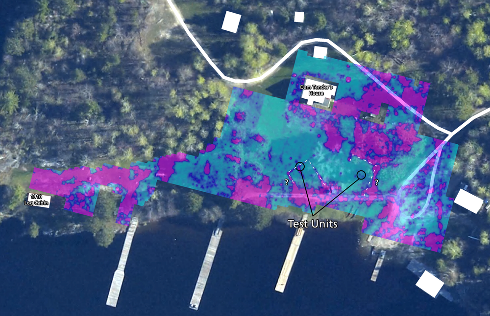 Blue/purple shading shows the compacted detected by ground penetrating radar in 2015. Two different areas look like they may have been related to buildings.